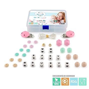 RUBY - Kit 2 pcs Chupetero con Nombre Personalizado con Bola Silicona Antibacteria Para Bebe. Envío urgente gratis (Mixto): Amazon.es: Bebé