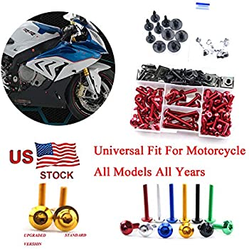 Motorcycle Kits Complete Bolt Fairings Bolt Kits screw Clips For Yamaha Honda Suzuki Bmw Kawasaki Ktm Ducati MT07 MT09 Z1000 CBR1000RR CBR600RR (Red, 2)