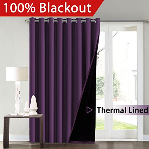 FlamingoP Full Blackout Indigo Plum Patio Room Divider Curtains Curtains Faux Silk Satin with Black Liner Thermal Insulated Window Treatment Panels, Grommet Top (100 x 84 Inch, One Panel)