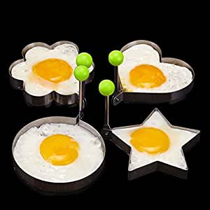 Efbock Kitchen Stainless Steel Omelette Device Heart Pancake Mould Mold Ring Cooking Fried Egg Shaper 1set