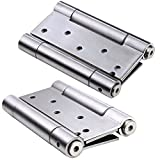 Ranbo 304 Stainless Steel Ball Bearing Heavy Duty Double Action Spring Loaded Door Swing Hinge,Automatic Closing/self Closer/Adjustable Tension 5 x 6.3 inch Brushed Chrome(Pack of 2) Thickness 3 mm