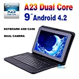 Goldengulf 9'' inch Dual core dual camera + Leather keyboard case Latest MID Google Android 4.2 Tablet PC Capacitive All Winner A23 8GB Flash 11 Registered in Washington