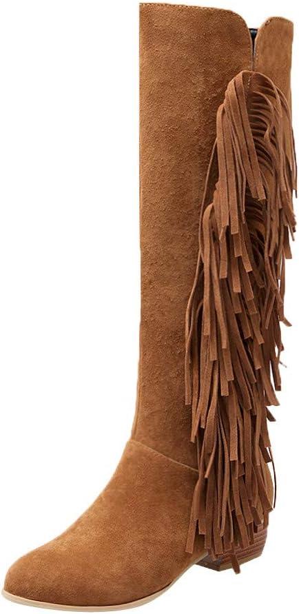 ღLILICATღ Mujer Botas De Ante Altas Rodilla con Borlas Invierno 2019 Calentar Botas de Cremallera Moto Futbol Equitacion Botines Ante Zapatos Moda Casual Antideslizante Tacón Bajo Boots: Amazon.es: Jardín