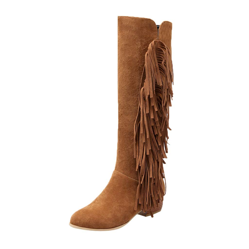Yezijin Women's High-Tube Boots Casual Tassel Side Zipper Ladies Shoes Boots Large Size Under 25 by Yezijin
