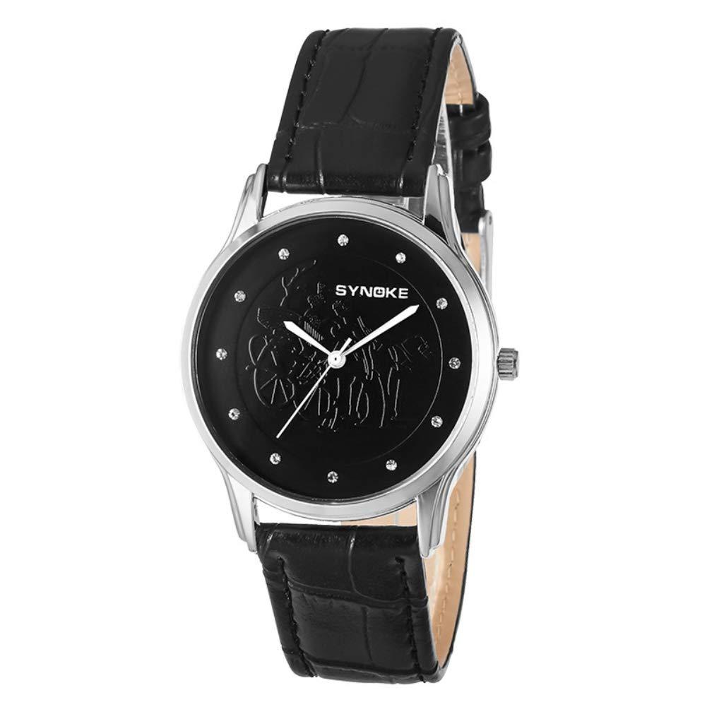 Fashion Men Carriage Quartz Rhinestone Inlaid Business Waterproof Wrist Watch