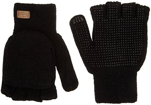 Large KINCO 5110-L Mens Alyeska Rag Gloves Wool Lined Half Finger with PVC Dots Black