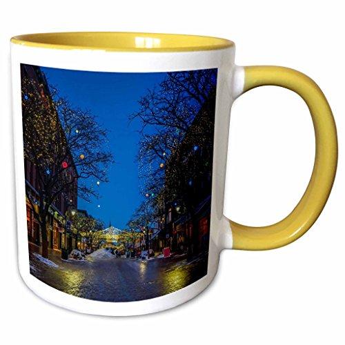 3dRose Edmond Hogge Jr – Countrys - Church Street Burlington Vermont - 11oz Two-Tone Yellow Mug - Vermont Outlet Burlington