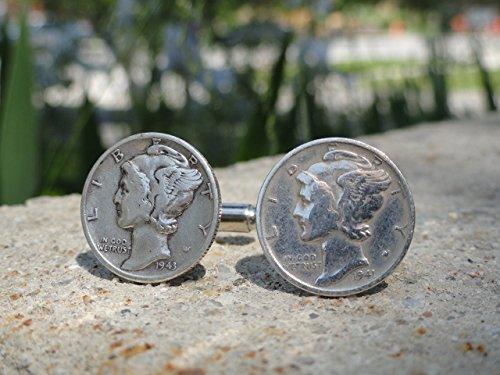 (Mercury Dime Coin Cufflinks )