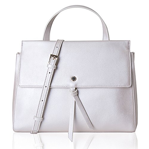 Women's Medium Soft Flap Crossbody Bag Handle Bag Purse,Pearl (Flap Leather Handbag)