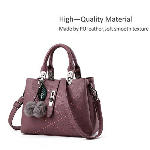NICOLE&DORIS nuevo paquete de ondas de mensajero del bolso del bolso de las señoras bolsos del bolso de las mujeres para las mujeres(Pink) Rojo oscuro