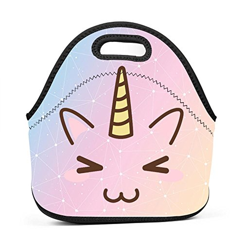 Bag Pastel - UNVMC Pastel Unicorn Reusable Cotton Lunch Bag Insulated Lunch Tote Soft Bento Cooler Bag Lunch Box for Women Kids Students