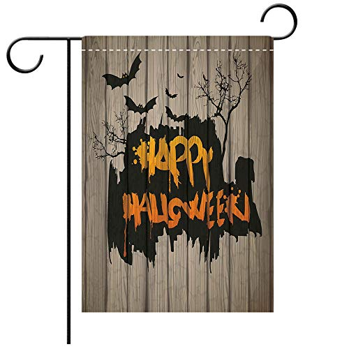 Artistically Designed Yard Flags, Double Sided Halloween Decorations Happy Graffiti Style Lettering on Rustic Wooden Fence Scary Evil Decorative Deck, patio, Porch, Balcony Backyard, Garden or Lawn