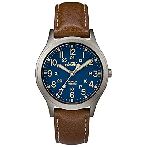 Timex Unisex TW4B11100 Expedition Scout 36 Brown/Titanium/Blue Leather Strap Watch - Timex Water Resistant Watch