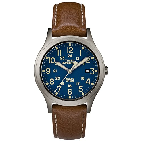 Timex Unisex TW4B11100 Expedition Scout 36 Brown/Titanium/Blue Leather Strap Watch - Wrist Watch Leather Brass