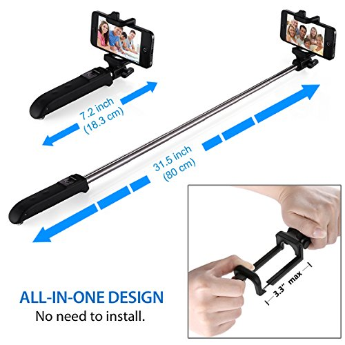 poweradd 2nd gen bluetooth selfie stick self portrait monopod with built in remote shutter for. Black Bedroom Furniture Sets. Home Design Ideas