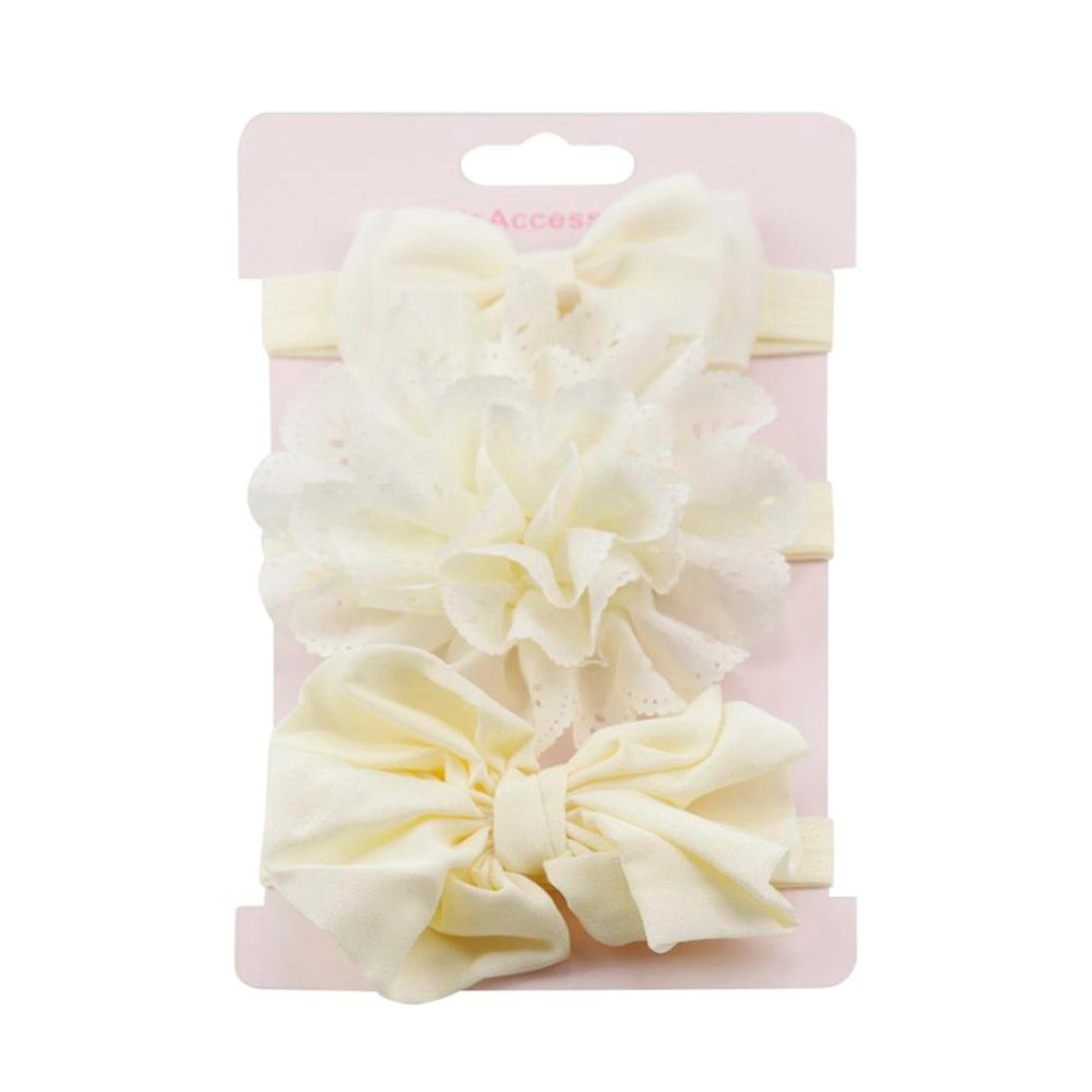 Clearance! 3pcs Baby's Headbands Girl's Cute Hair Bows Hair Bands Newborn Headband (Beige)