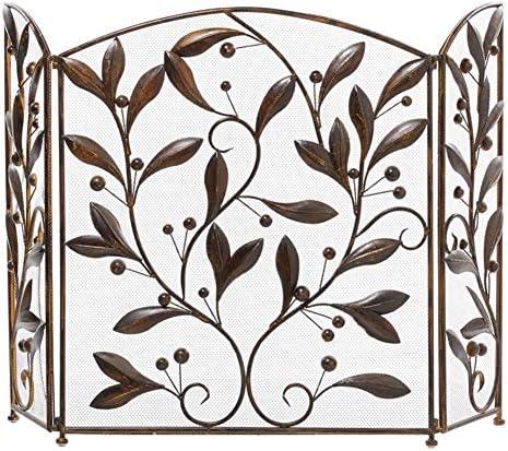 暖炉スクリーン 花柄のデザイン、暖炉スクリーンスパークフレイムガードアーチ型の折り畳み式、ブラウンと3パネル暖炉ガード