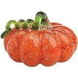 """Boston International Gallery Glass Pumpkin Collectible Figurine, 5"""", Orange"""