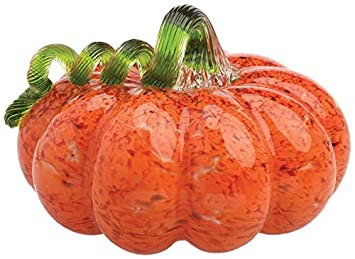 Boston International Gallery Glass Pumpkin Collectible Figurine, 5 , Orange