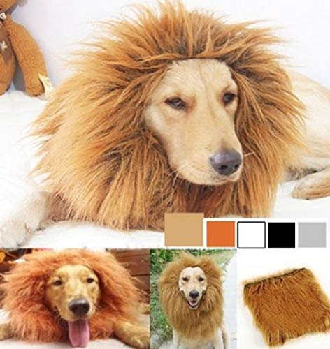 SUNREEK Large Pet Dog Cat Lion Wigs Mane Hair Festival Party Fancy Dress Clothes Costume]()