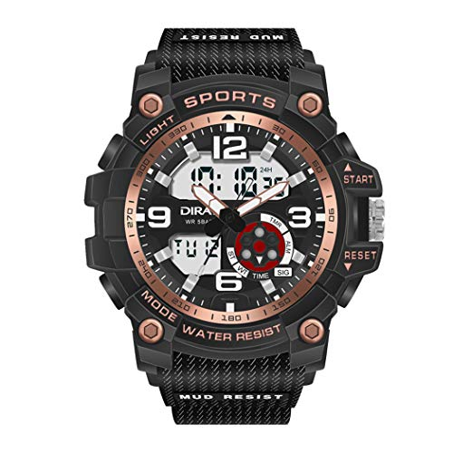 Mens Digital Analog Watch DIRAY 50M Waterproof Outdoor Sport Watch Military Multifunction Casual Dual Display 12H/24H Stopwatch Calendar Wrist Watch