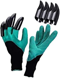 Gardening Gloves with Fingertip Claws for Digging and Planting, Waterproof, Puncture proof and Breathable Gloves