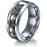 Men Women The Punisher Skull Stainless Steel Titanium Wedding Band Ring Size6-13#by pimchanok shop (9, Gold blue)