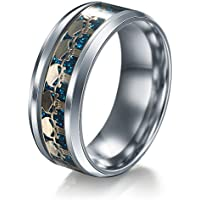 Men Women The Punisher Skull Stainless Steel Titanium Wedding Band Ring Size6-13#by pimchanok shop (7, Gold blue)