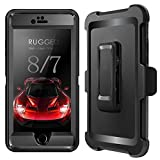 iPhone 7 Case, iPhone 8 Case, iPhone 7 Defender Case with Belt Clip, Kickstand, Holster, Heavy Duty, 4-in-1 Dropproof Shockproof Dustproof, Rugged Rubber Case Cover for iPhone 7/8