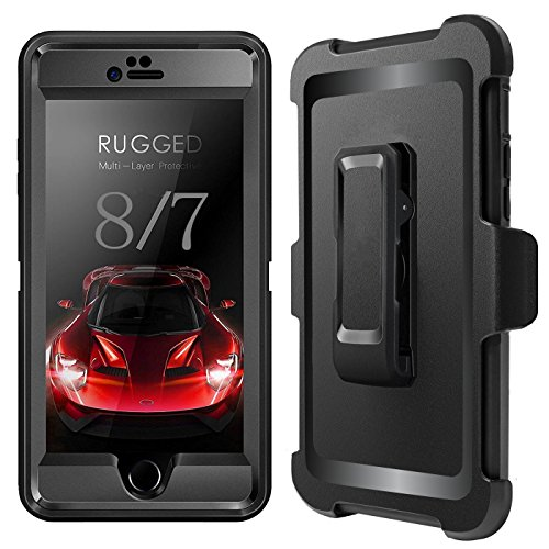 iPhone 7 Case, iPhone 8 Case, iPhone 7 Defender Case with Belt Clip, Kickstand, Holster, Heavy Duty, 4-in-1 Dropproof Shockproof Dustproof, Rugged Rubber Case Cover for iPhone 7/8 by Ptuna