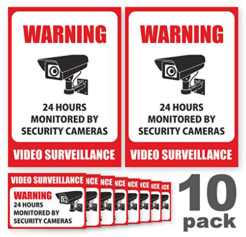 (10 Pack Video Surveillance Sign Stickers - Self-Adhesive Vinyl Decal Camera Alarm System Stickers - 24 Hours Security Warning Signs - Monitored By Security Camera Stickers - Indoor & Outdoor Use)
