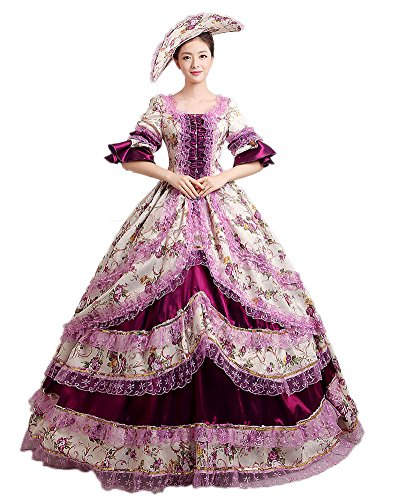 [Zukzi Women's Prom Gothic Victorian Fancy Palace Masquerade Dresses, 1505 Purple 18] (Victorian Era Dress)