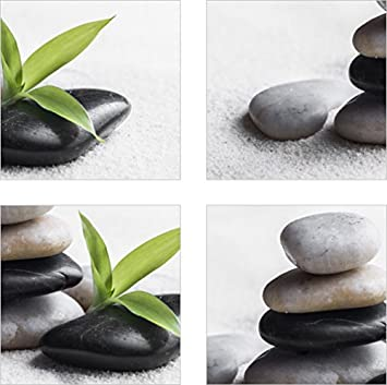 Medianlux Fliesenaufkleber Fliesenbild Zen Steine Bambus Wellness