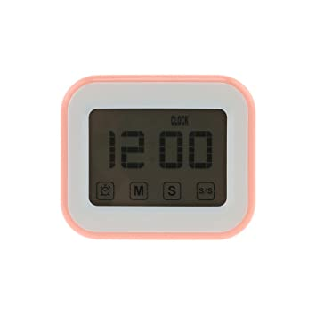 KANG-FANG,Reloj de alarma magnético temporizador de cocina digital de pantalla táctil(color:ROSA Y BLANCO): Amazon.es: Hogar
