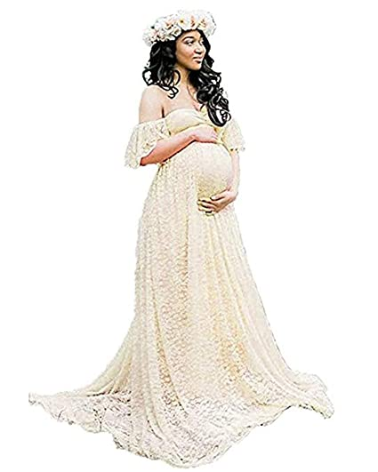 a9fde378b6 SICILY Lace Overlay Maternity Wrap Maxi Dress Photography Props Fancy Gown  With Train For Baby Shower Photo Shoot  Amazon.in  Clothing   Accessories