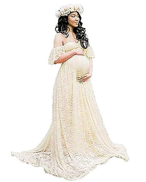 Sicily Womens Lace Off Shoulder Long Maternity Dress Plus