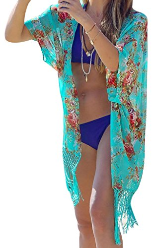 Summer Women's Beach Bikini Swimwear Chiffon Cover Up Dress, Green