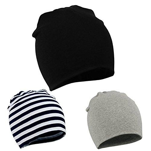 Zando Infant Toddler Soft Baby Hat Cute Lovely Kids Warm Cotton Comfort Knit Boys Beanie Skull Caps Hat for Fall Winter B 3 Pack Black White Stripe Large (1-4 (Infant Skull Cap)