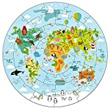 iPlay, iLearn Kids World Map Jigsaw Puzzles, Jumbo Round Floor Puzzle Toys w/ Continents, Oceans N Animals, Geography Educational Gift for 2, 3, 4, 5, 6 Years Old Boys Girls Toddlers Children