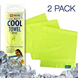 2-Pack N-Rit Ice Mate Cooling Sport Towel [Yellow] Advanced Cooling Towel Designed for All Sports Players, Golf Towel, Gym Towel, Yoga Towel and More