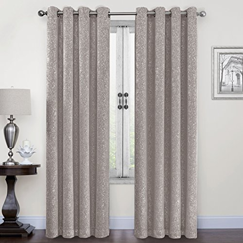 SUO AI TEXTILE Suede Like Metallic Silver Print Darkening Window Treatment Thermal Insulated Curtains (One Panel, 54x84, Grey)
