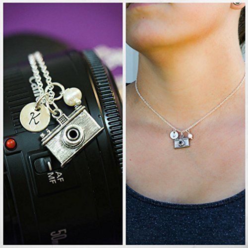 Personalized Camera Necklace - Custom Initial, Pearl or Birthstone Crystal - Handstamped 3/8 Inch Disc - Photographer Gift - DII AAA