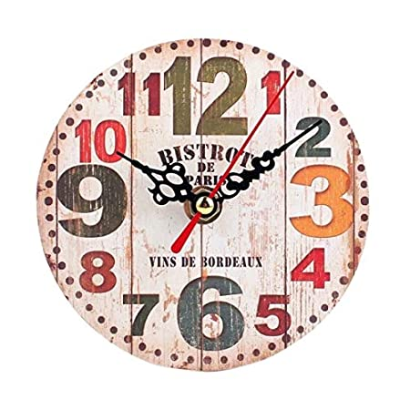 Amazon.com: DAVITU US Warehouse New 1pc 12cm Vintage Style Silent Antique Wall Clock Wood Battery Powered Reloj De Pared De Estilo Vintage - (Color: B): ...