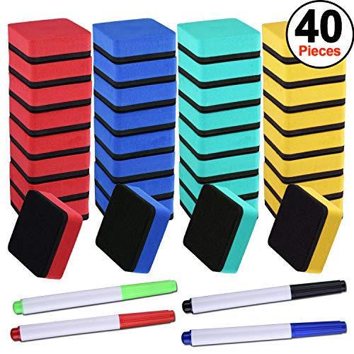 SIQUK 36 Packs Colorful Whiteboard Eraser Dry Eraser Magnetic Chalkboard Cleansers Wiper(1.97 x 1.97 Inches) with 4 Pieces Dry Erase Whiteboard Markers for Classroom Offices ()