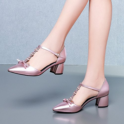 Heel Toe Leather Pointed Low Women's T Shoes Block Bar Mid Sandals Pink Strap Shoes Sandals Summer Ankle 0fAS5APq