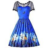 DressLily Women Short Sleeve Lace Spliced Print Halloween Vintage Dress Earth Blue S