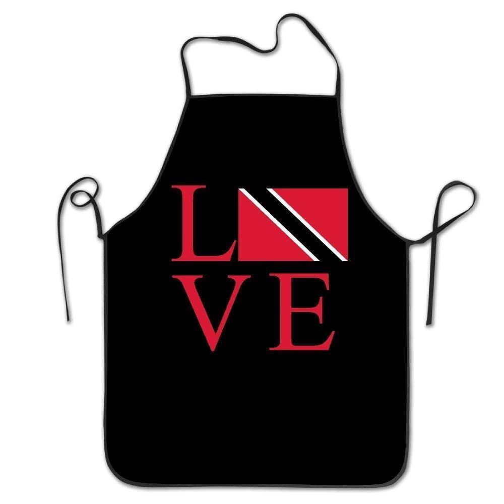 AfagaS Love Trinidad Flag Unisex Kitchen Bib Apron Supermarket Overalls Coffee Shop with Chef's Apron