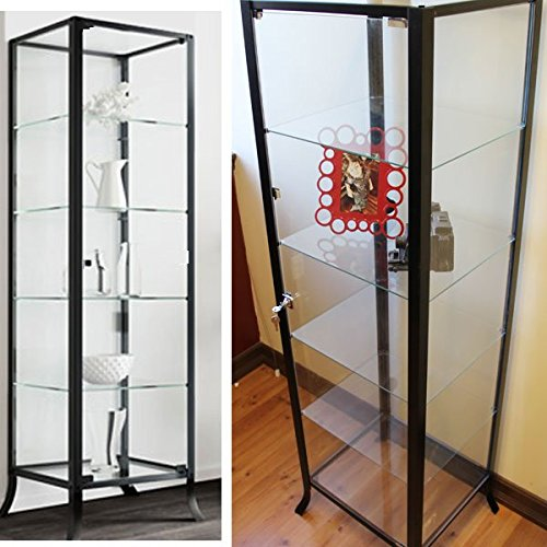 Etonnant Amazon.com: Curio Cabinet Display With Glass Door And Lock For Collectibles  And Other Items To Showcase , Durable Black Steel Frame With Industrial To  ...