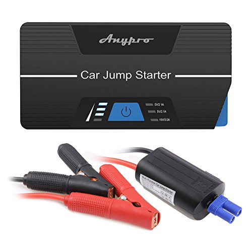 Miuko Portable Power Pack Car Battery Jump Starter for Gas and Diesel Engine (Dark Black)