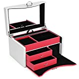 SONGMICS Box, Lockable Jewelry Organizer Compatible with Mirrored Lid, Large Storage Capacity, Various compartments, Gift for Loved Ones, UJBC148WR, 9.6''L x 6.8''W x 6.1''H White & Watermelon Red